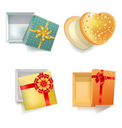 Colorful festive gift boxes in bright wrappers vector