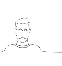 Continuous line drawing of man male one line vector