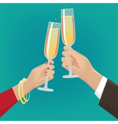 Couple clink glasses vector
