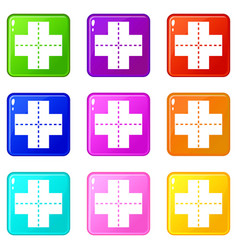 Crossroad icons 9 set vector