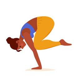 Crow pose yoga on white background sport exercise vector