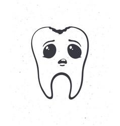 Cute unhealthy human tooth with sad eyes vector