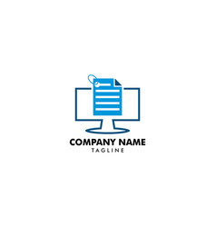 Data pc computer logo design template vector