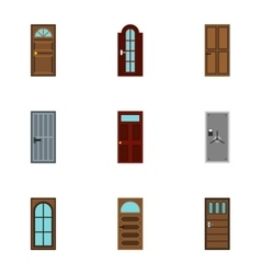 Door icons set flat style vector