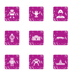 droid icons set grunge style vector image