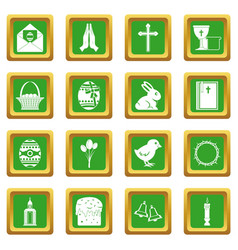 Easter items icons set green vector