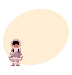 Eskimo inuit black haired girl in sheepskin warm vector
