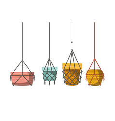 Flower pots in macrame hangers icon vector