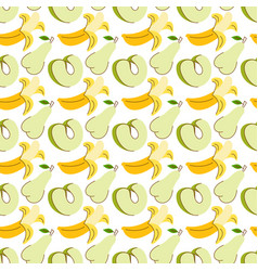 Fruit pattern with colorful water apple banana vector