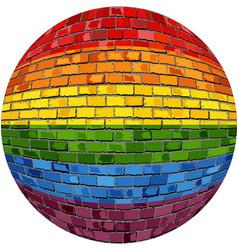 gay pride ball in brick style vector image
