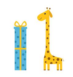 giraffe with spot long neck cute cartoon vector image