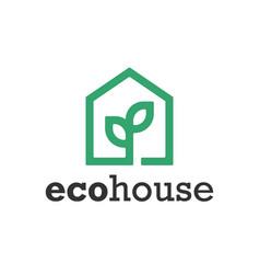 green eco house symbol web icon logo template vector image