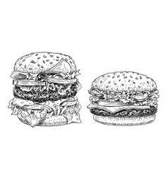 hamburger and cheeseburger hand drawn vector image