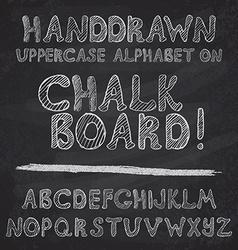 Hand drawn alphabet design on chalk board rough vector image