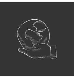 Hand holding the Earth Drawn in chalk icon vector