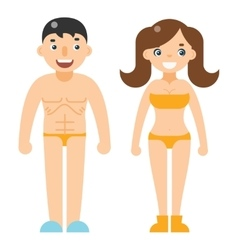 Happy man woman beach dress nude characters vector image