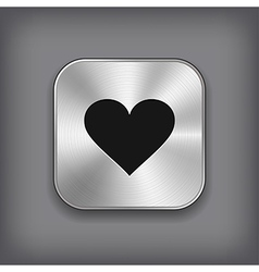 heart icon - metal app button vector image