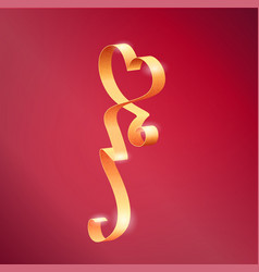 heart shape golden ribbon vector image