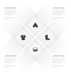 Icon garment set of fashion clothing navy and vector
