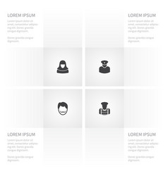 Icon human set of security man whiskers vector