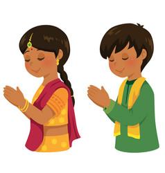 indian kids praying vector image