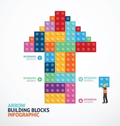 Infographic template with arrow shape building vector