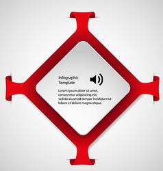 Infographic template with red rhombus shape vector