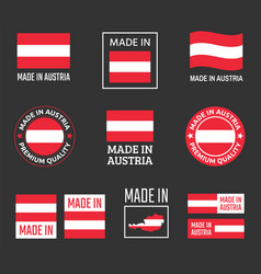 made in austria icon set product labels of vector image