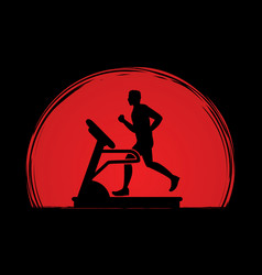 Man running on treadmill vector