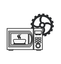 microwave oven and gear icon vector image