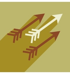 Modern flat icon with long shadow Indian arrows vector