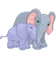 Mother and baby elephant vector
