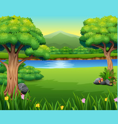 nature lanscape with a beautiful park and mountain vector image