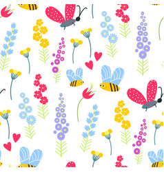 nature summer flowers and bee insects vector image