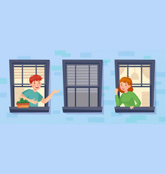 neighbors looking out window and talk to each vector image