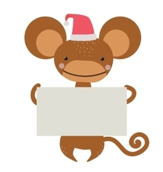 New year christmas cartoon monkey santa hat vector