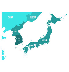 Political map of korean and japanese region south vector