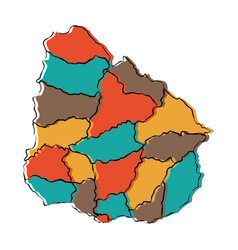 Political map of uruguay vector