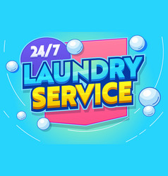 Professional laundry service typography banner vector