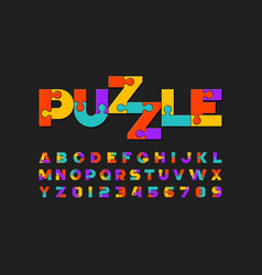Puzzle font colorful jigsaw puzzle alphabet vector