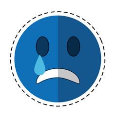 Sad emoticon style icon cut line vector