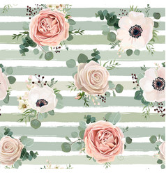 seamless floral watercolor pattern design vector image