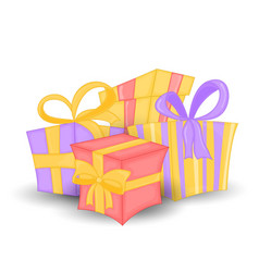 set of different colorful wrapped gift vector image