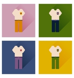 Set of flat icons with long shadow shirt pants vector