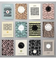 Set of grunge vintage cards with black hand drawn vector image