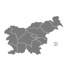 Slovenia regions map grey vector