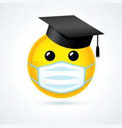 Smile in academic cap medical mask vector