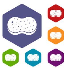 sponge foam icons set vector image