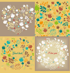 spring graceful floral patterns set vector image