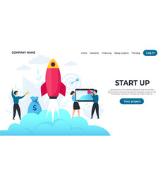 start up landing page trendy entrepreneur vector image